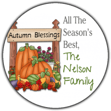 Autumn Blessings Round Gift Tag Stickers