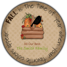 Autumn Harvest Basket Round Gift Tag Stickers