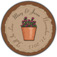 Autumn Flower Pot Round Gift Tag Stickers