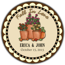 Autumn Flowers Pot Round Wedding Favor Stickers