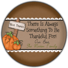 Give Thanks Pumpkins Round Gift Tag Stickers