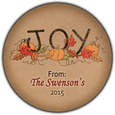 Autumn Joy Round Gift Tag Stickers