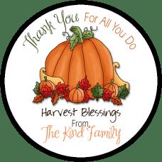 Harvest Pumpkin Round Gift Tag Stickers