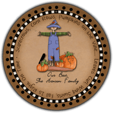 Autumn Scarcrow Round Gift Tag Stickers