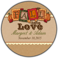 Fall Harvest Round Wedding Favor Stickers