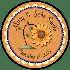 Autumn Sunflower Round Wedding Favor Stickers