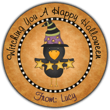 Black Crow Witch Round Treat Bag Stickers