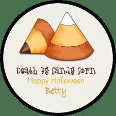 Candy Corn 2 Round Treat Bag Stickers