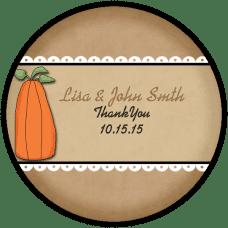 Prim Pumpkin Round Wedding Favor Stickers