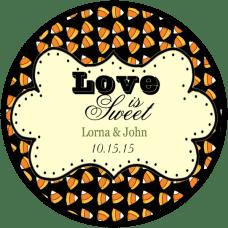 Candy Corn Black Background Round Wedding Favor Stickers