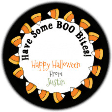 Candy Corn Border Round Treat Bag Stickers
