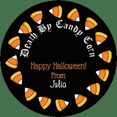 Candy Corn Black Round Treat Bag Stickers
