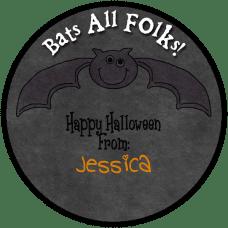 Bat Round Treat Bag Stickers