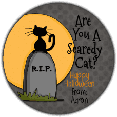 Cat on Tombstone Round Treat Bag Stickers