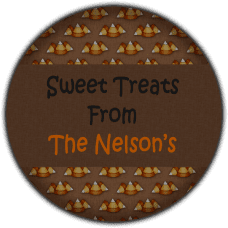 Candy Corn Background Round Treat Bag Stickers