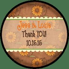 Autumn Sunflower Background Round Wedding Favor Stickers