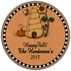 Autumn Beehive Round Gift Tag Stickers