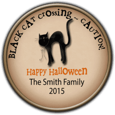 Black Cat Round Treat Bag Stickers