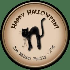 Black Cat 2 Round Treat Bag Stickers