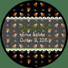 Black Candy Corn Background Round Wedding Favor Stickers