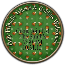Green Candy Corn Background Round Treat Bag Stickers