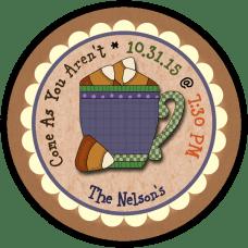 Candy Corn Mug 2 Round Treat Bag Stickers