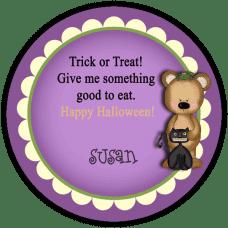 Bear & Black Cat Round Treat Bag Stickers
