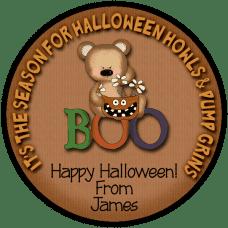 Boo Bear Round Treat Bag Stickers
