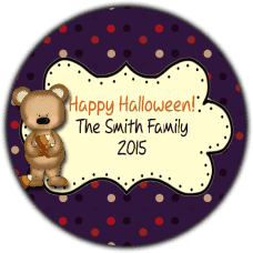 Candy Corn Bear Round Treat Bag Stickers