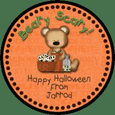 Halloween Bear 2 Round Treat Bag Stickers