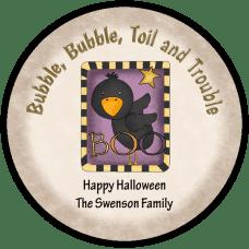 Boo Crow Round Treat Bag Stickers