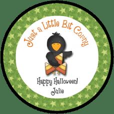 Candy Corn Crow Round Treat Bag Stickers