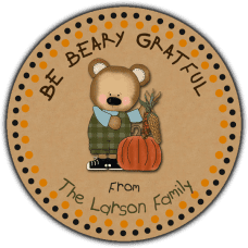 Boy Bear with Fall Harvest Round Gift Tag Stickers