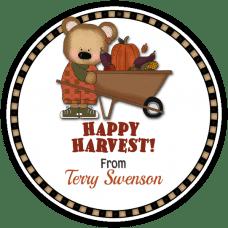 Fall Boy Bear with Wheelbarrow Round Gift Tag Stickers