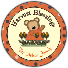 Girl Bear in Corn Field Round Gift Tag Stickers