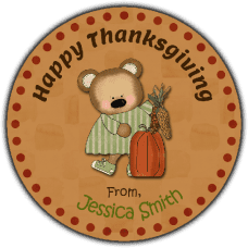Girl Bear with Fall Harvest Round Gift Tag Stickers