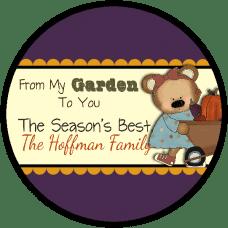 Fall Girl Bear with Wheelbarrow Round Gift Tag Stickers