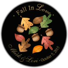 Fall Leaves on Black Round Wedding Favor Stickers