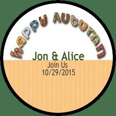 Happy Autumn Round Wedding Favor Stickers
