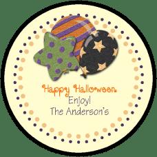Halloween Balloons Round Treat Bag Stickers