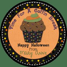 Chocolate Hallowee Cupcake Round Treat Bag Stickers