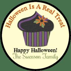 Black Halloween Cupcake Round Treat Bag Stickers