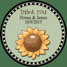 Prim Sunflower Round Wedding Favor Stickers