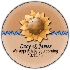 Rick Rack Sunflower Round Wedding Favor Stickers