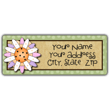 Pink Bachelor Button Return Address Labels