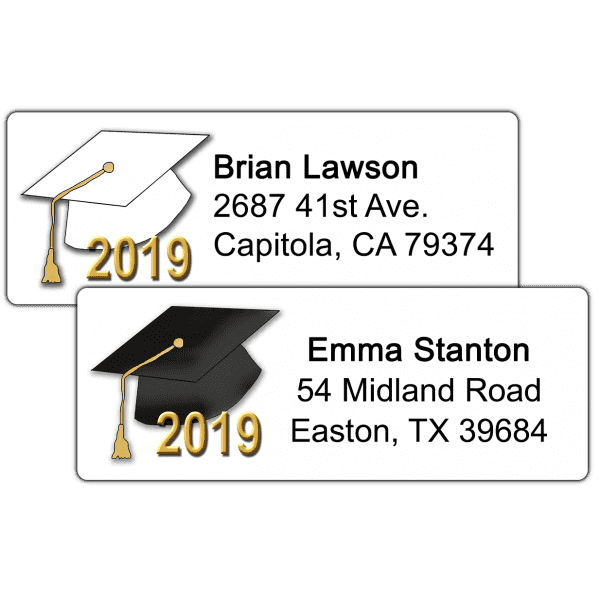 Graduation Hats Return Address Labels