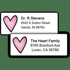 Pink Heart Return Address Labels