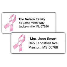 Pink Ribbon Return Address Labels