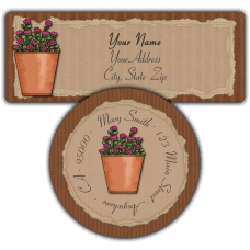 Autumn Flower Pot Return Address Labels