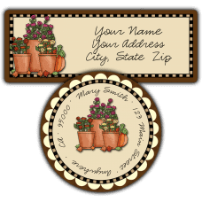 Autumn Flowers Pot Return Address Labels